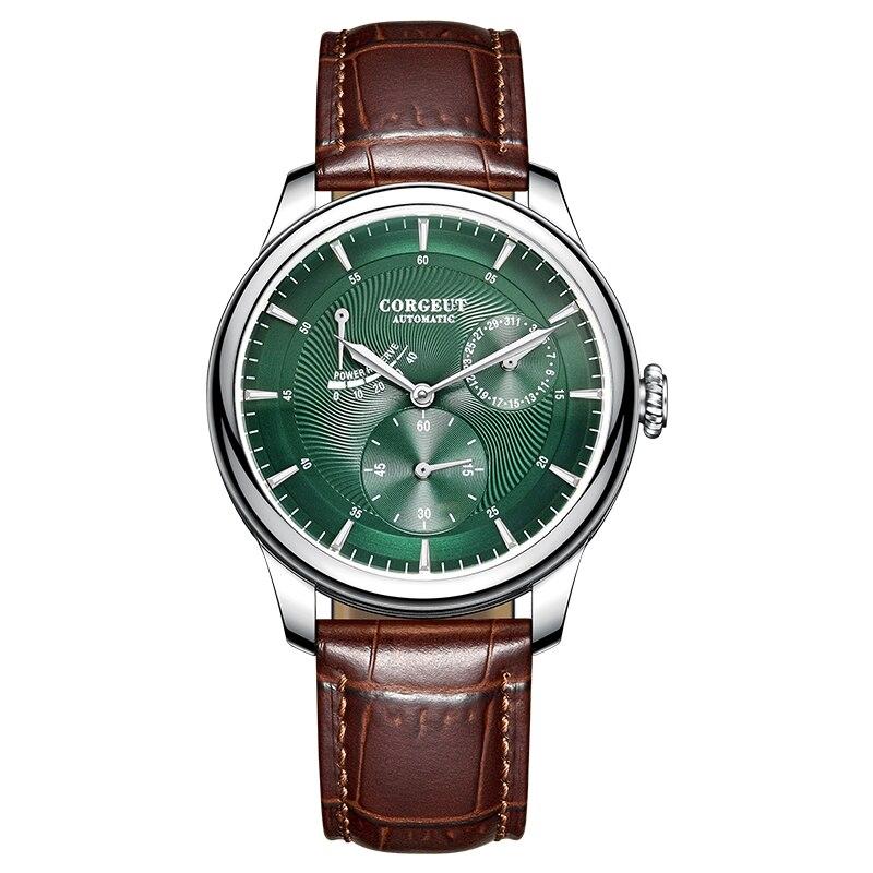 Corgeut-ساعة رجالية ميكانيكية ، ساعة يد ميكانيكية أوتوماتيكية من الجلد ، احتياطي الطاقة ، ستانلس ستيل ، 40 مللي متر
