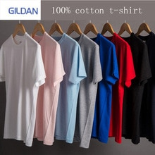 GILDAN 브랜드 남성 단색 T 셔츠 100% 코튼 T 셔츠 브랜드 반팔 T 셔츠 트랙 및 필드 실행 패션 셔츠 T-s