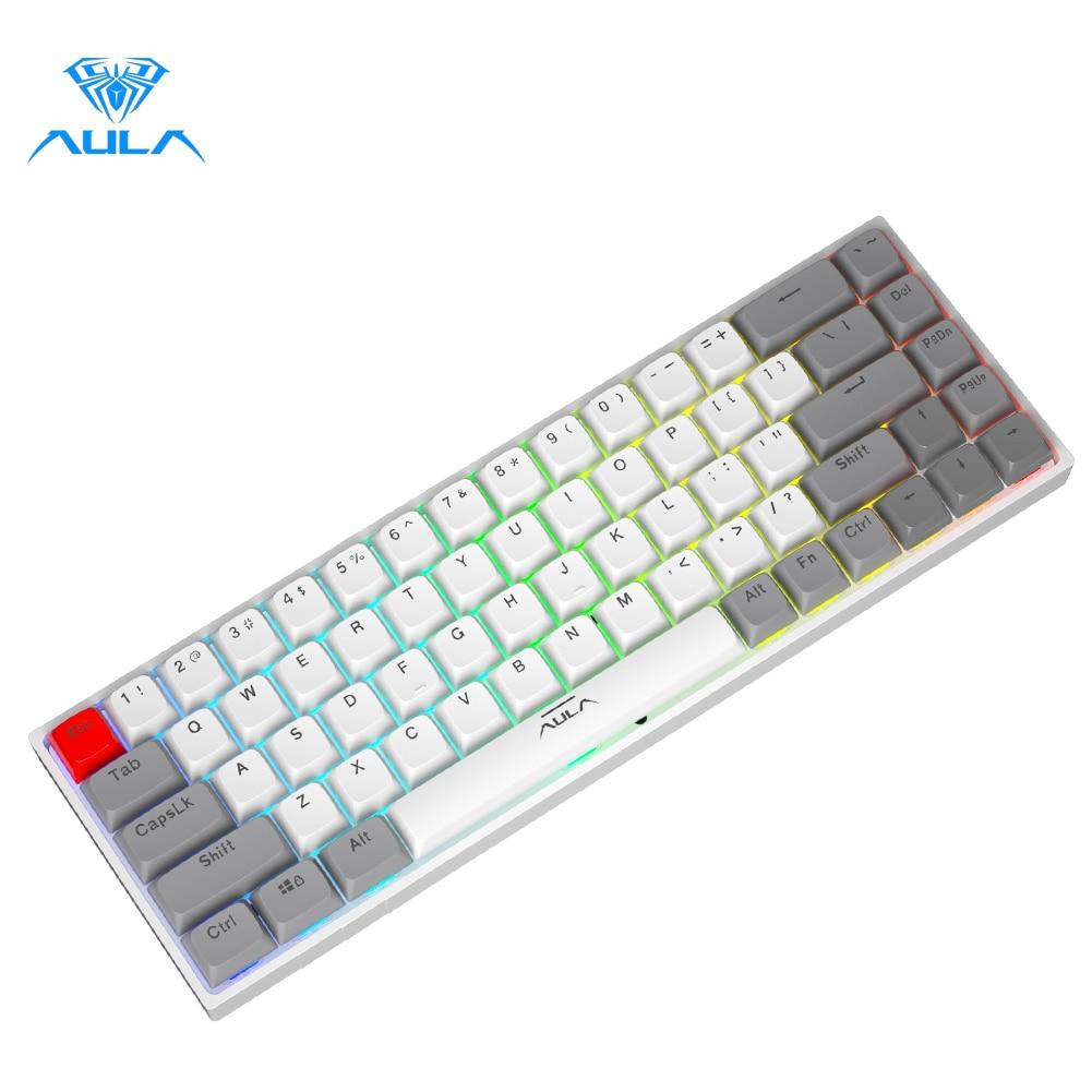 AULA F3068 لوحة مفاتيح الألعاب الميكانيكية دعم بلوتوث/نوع-C لوحة المفاتيح القابلة للتبديل الساخن لوحة المفاتيح لماك/وين/سطح المكتب