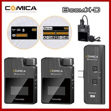 Comica BoomX-D For Smartphone Video D1 D2 UC1 UC2 2.4g Wireless Microphone Digital Transmitter Kit Mini Cellphone Mic Receiver