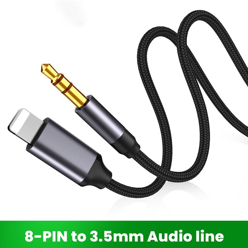 Adaptador de auriculares de 8 pines a 3,5mm, Cable auxiliar de iluminación...