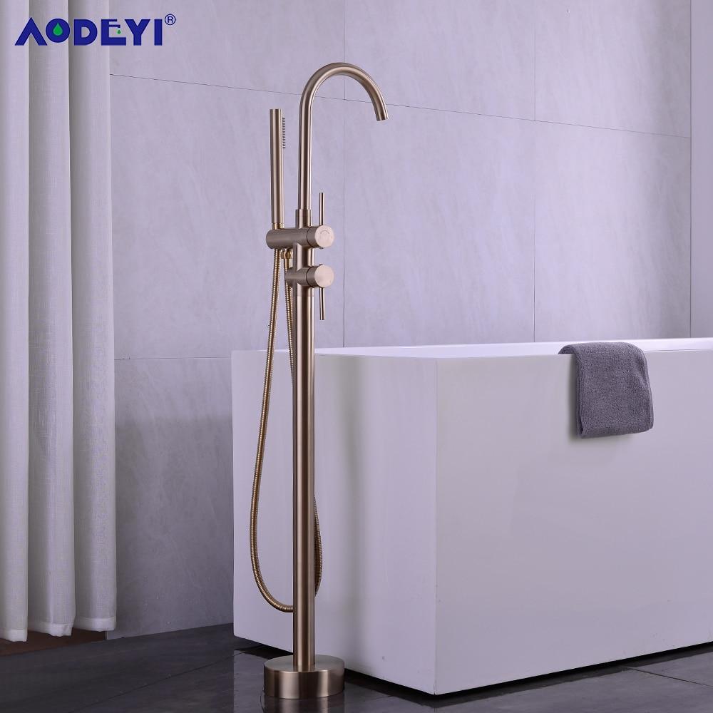 حنفية حوض استحمام نحاسية مثبتة على الأرض ، صنبور خلاط دوار 360 درجة مع دش يدوي ، أسود