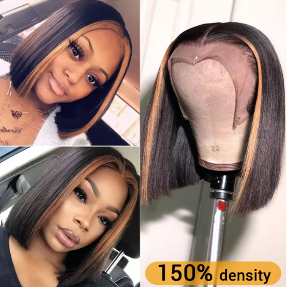 Highlight Brown Wig Short Bob Wig Lace Front Human Hair Wigs Straight Brazilian Wig For Women Remy Lace Closure  Frontal Ms love