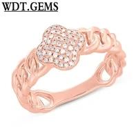 0 14ct 10k rose gold diamond clover link ring clover diamond fashion ring