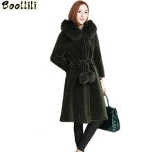 Boollili 2020 nouveau mouton cisaillement manteau de fourrure femmes agneau fourrure veste femme avec réel renard fourrure col à capuche hiver longue Outwear