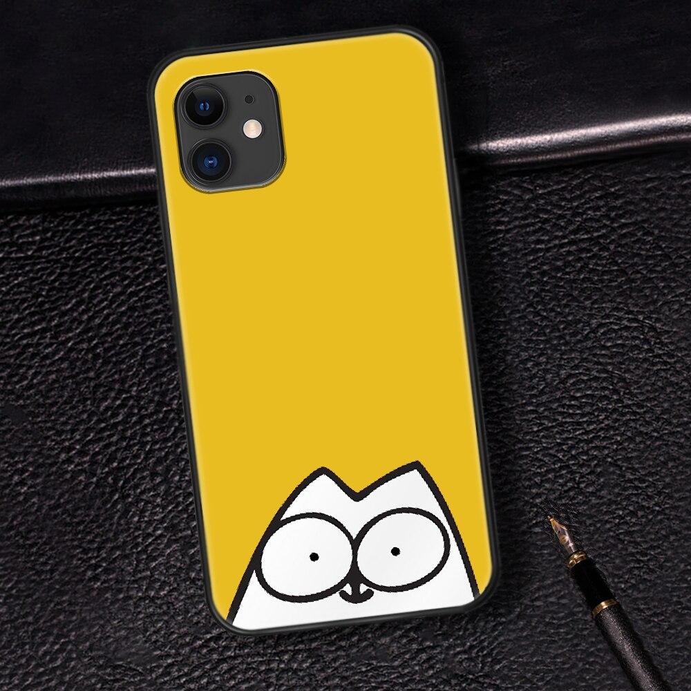 Cute Cartoon Simons Cat Phone Case For Iphone 5 5S SE 2020 6 6S 7 8 Plus 11 12 Mini X XS XR Pro Max black Bumper Soft Etui
