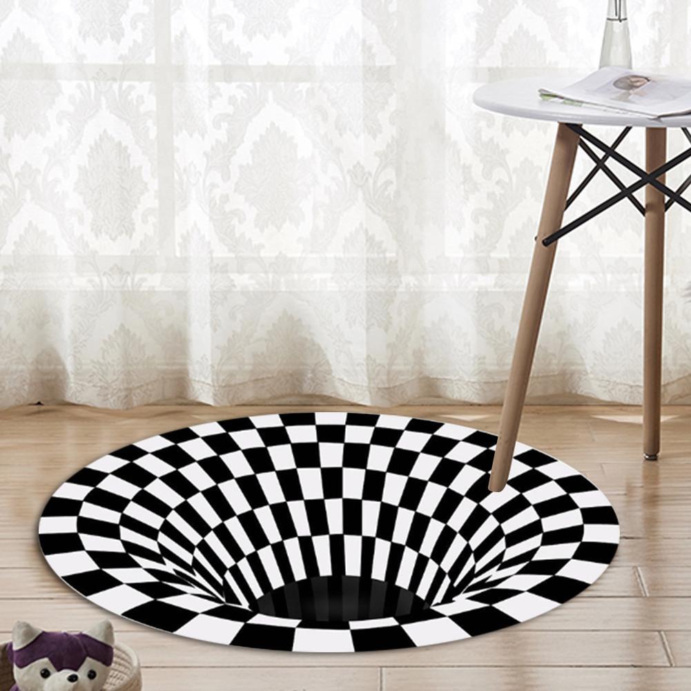 23.62-62.99in tapete redondo durbale tapete antiderrapante não tecido wearable 3d preto branco capacho para sala de estar tapetes modernos