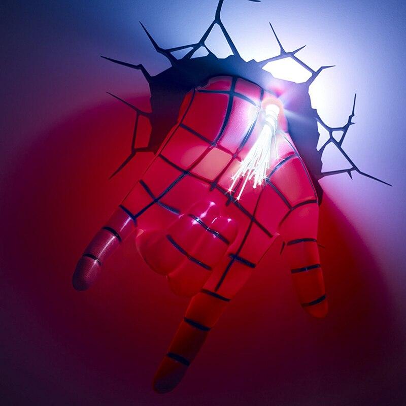 Acecorner Avengers Marvel Spider Man Face Hand Superhero 3D LED Wall Lamp Creative Sticker Night Light for Christmas Kids Gift enlarge
