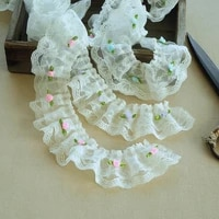 white double layer mesh gauze color appliqu lace diy collar cuff puff skirt hem banding children s toy clothing sewing material