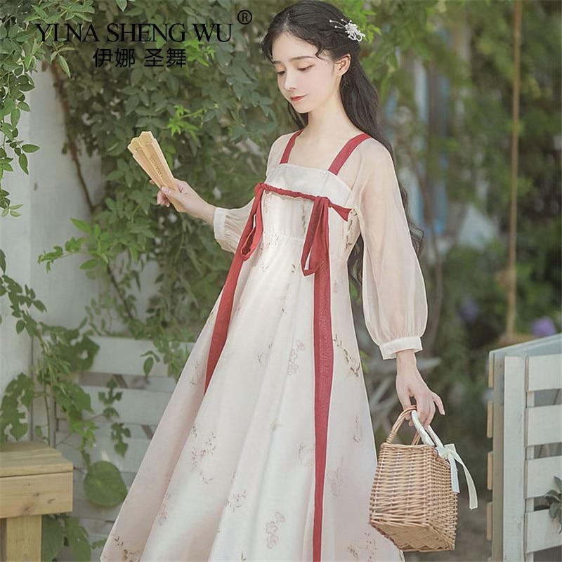 الصينية التقليدية الشعبية هان سلالة ملابس رقص سيدة الجنية الرجعية زي Hanfu جديد تأثيري ارتداء الملابس الشرقية القديمة دعوى
