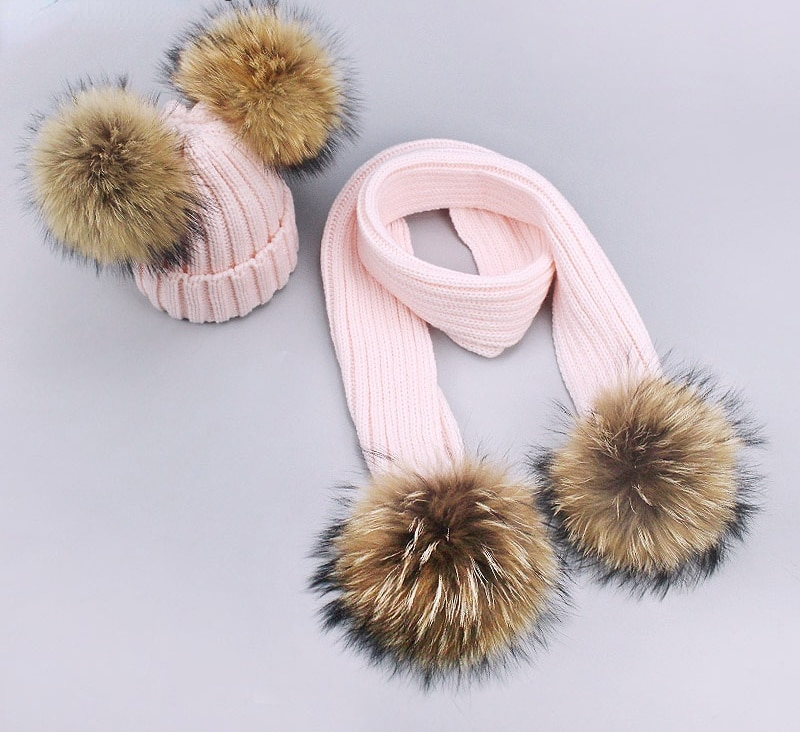 Зимние вязаные теплые шапки с помпоном для девочек, с натуральным мехом