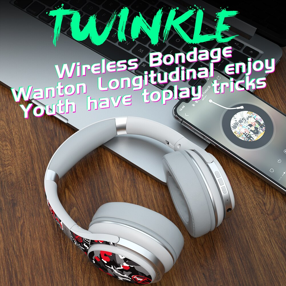 Wireless  Headphones Over Ear Headest Graffiti Bluetooth-compatible Foldable Headphone with Mic Hi-Fi Stereo For phone pc laptop enlarge