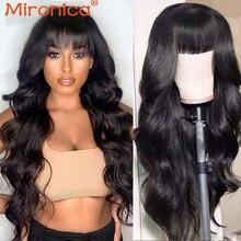 Long Human Hair Wigs With Bangs Brazilian Body Wave Wig Full Machine Made Wig With Bang Brazilian Re