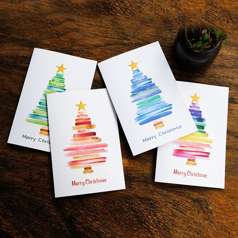 (10 Pieces/Lot) Watercolor Christmas Greeting Card with Envelope
