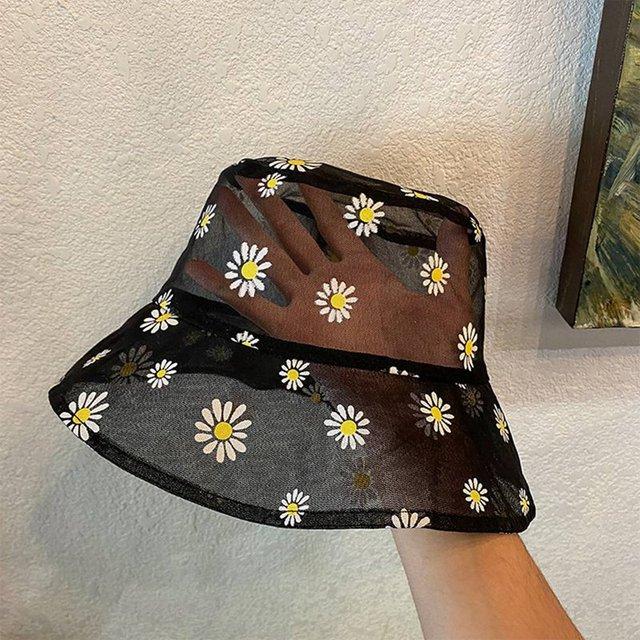 Daisies Embroidered Buckets Hat Transparent Panama Women Lace Flower Beach Hats High Top Snapback Fashion Daisy Sun Cap Summer
