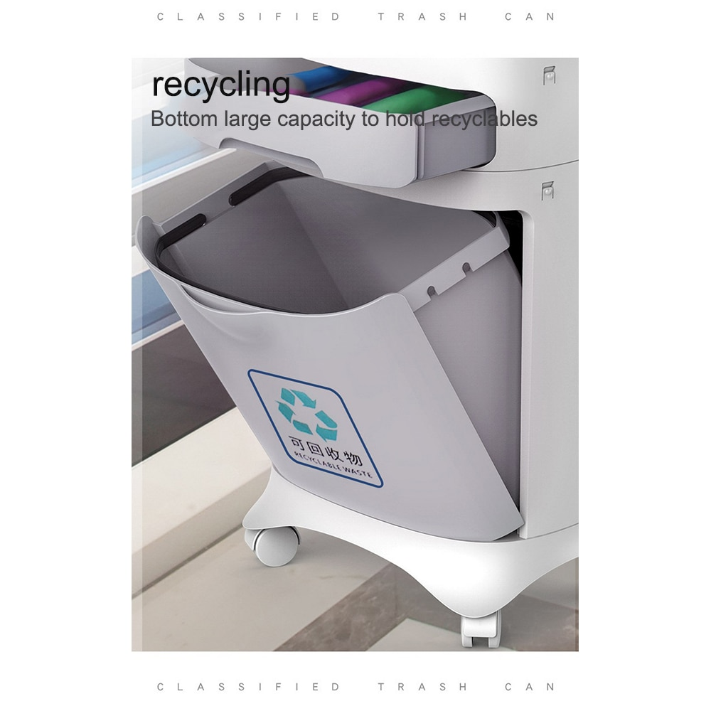 1-3 Layer Classification Trash Can Kitchen Plastic Dustbin Wet and Dry Push Button Recycle Stacked Sorting Rubbish BinWith Wheel enlarge