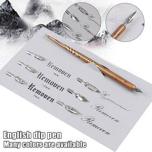 Прочная деревянная ручка Dip Pen ручной работы перо для каллиграфии держатель с 6 наконечниками для практики различных шрифтов EM88