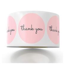 Pegatinas de papel rosa para álbum de recortes, papel de aluminio, pegatinas de boda de agradecimiento, sellos de sobre, pegatina de papelería hecha a mano, 1 pulgada, 50 Uds.