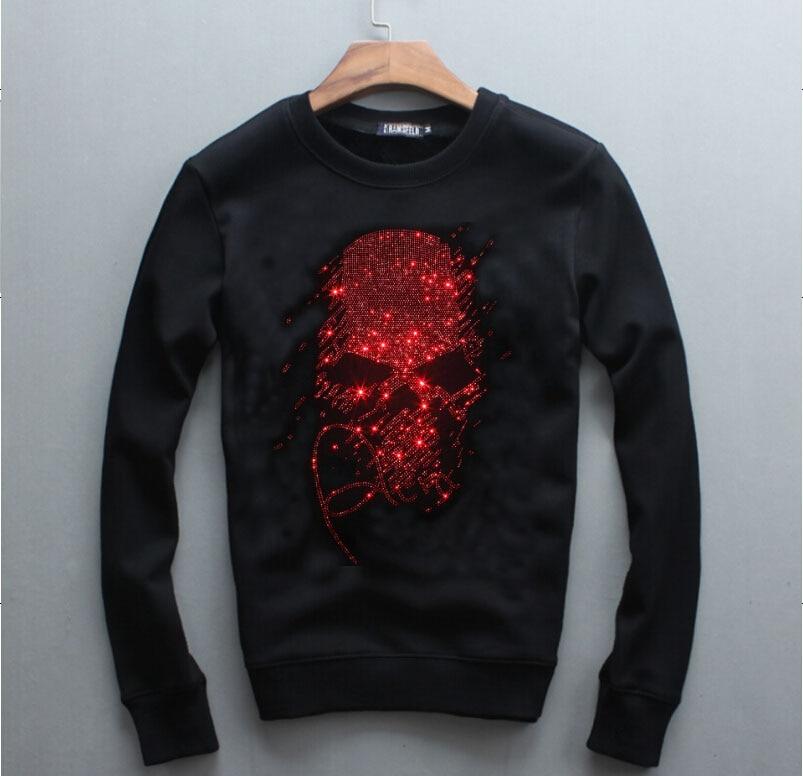 men 2020 Sweatshirts Rhinestones Hoodies Men Brand long Sleeve Fashion Man Streetwear O Neck Hot drill Sweatshirts