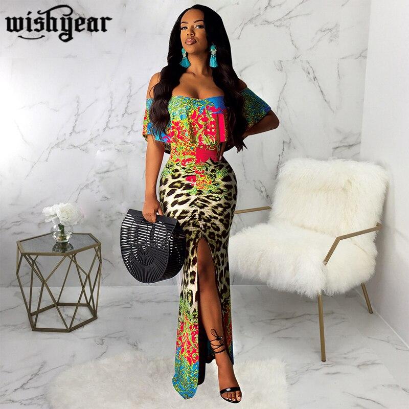 Wishyear Floral estampado de leopardo volante Maxi vestido mujeres Sexy cuello barco con hombros descubiertos abertura larga Bodycon Club vestido de fiesta túnica larga