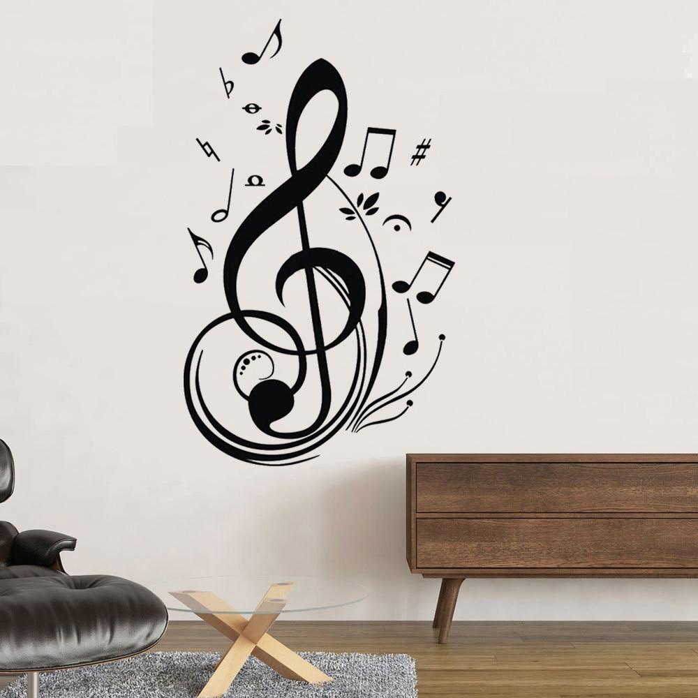 Calcomanías extraíbles para pared de niños, notas musicales, decoración para sala de estar, revestimiento de paredes, calcomanías de papel para el hogar, póster de pared no tóxico de PVC