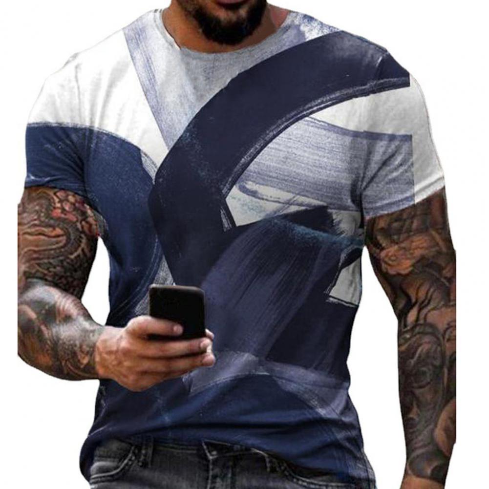 Летняя футболка цифровая печать тонкая Для мужчин футболки с короткими рукавами и круглым вырезом топ для свиданий