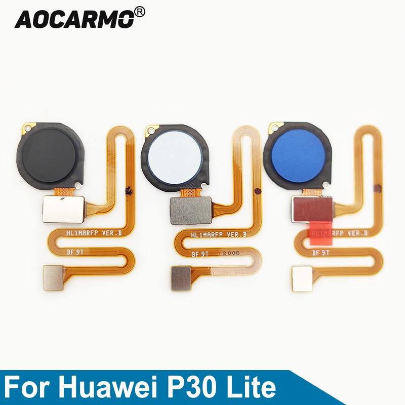 Aocarmo Home Button For Huawei P30 Lite / Nova 4e Touch ID Fingerprint Sensor Flex Cable Replacement