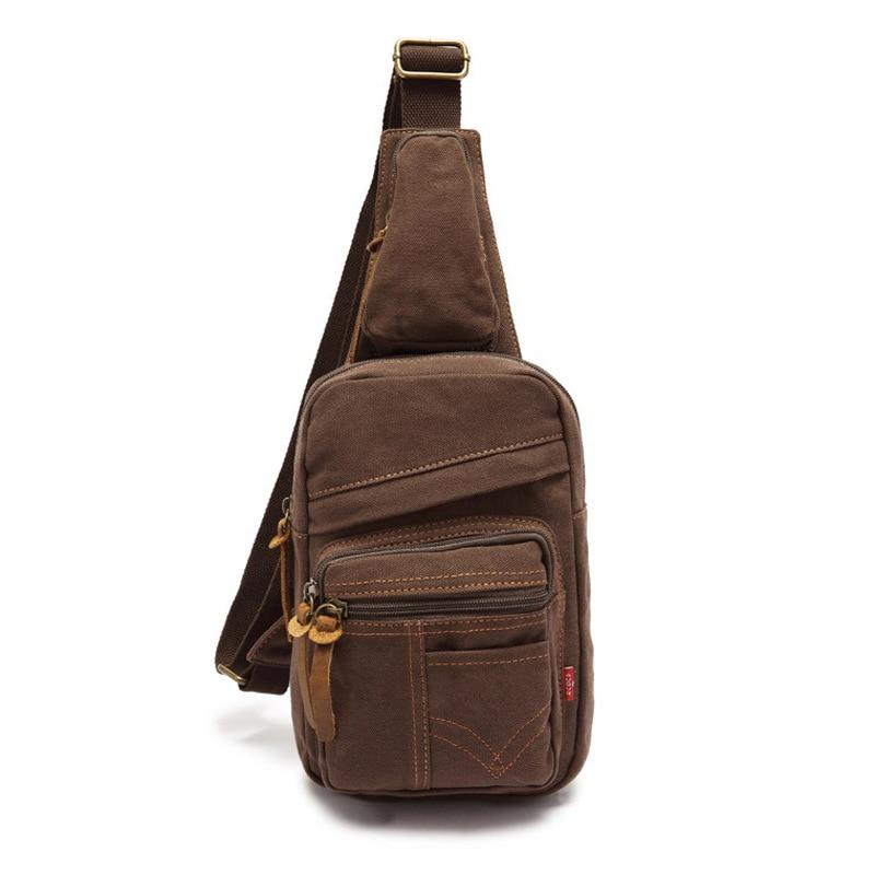 Men Vintage Canvas Satchel Shoulder Sling Chest Pack Bag Lightweight Travel Hiking Cross Body Bags