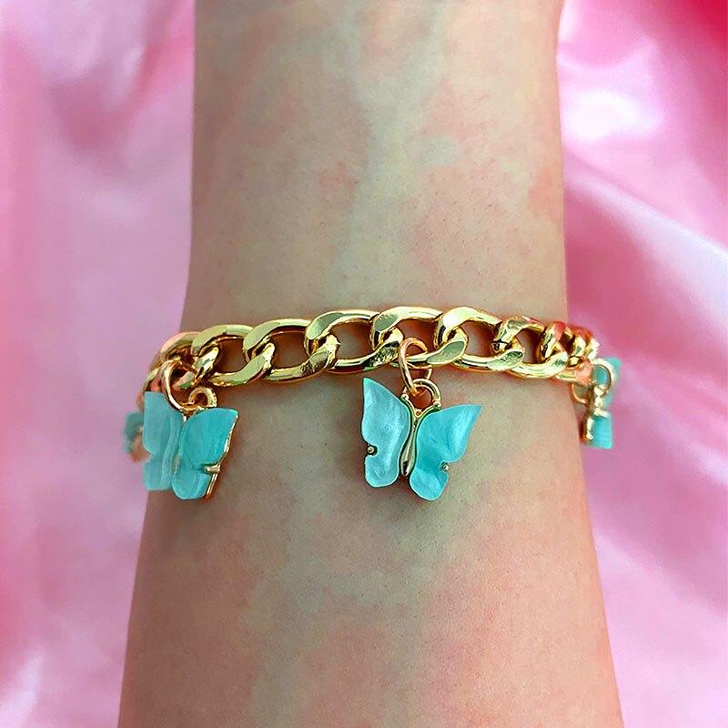 Flatfoosie Korean Gold Silver Color 16 Butterfly Bracelets for Women Fashion Acrylic Wide Bracelet Trendy New Wedding Jewelry