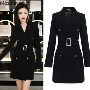 Mozuleva 2019 Fashion New Female Sexy Jacket Dress Mid-length Spring and Autumn Korean Version Black Diamond Slim Suit Dress