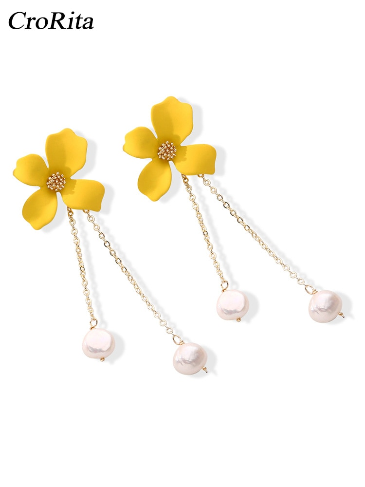 CroRita Flor naranja perla oreja gota moda Casual verano playa pendientes largos elegante perla gota mujer pendiente