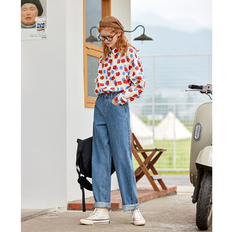 UNIFREE Wash jeans female spring and autumn straight loose 2021 new high waist thin pants female tide INS