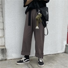 Autumn Winter Japanese Ulzzang Wind Bib Overall Men and Women Baggy Straight Trousers Wide-Leg Pants