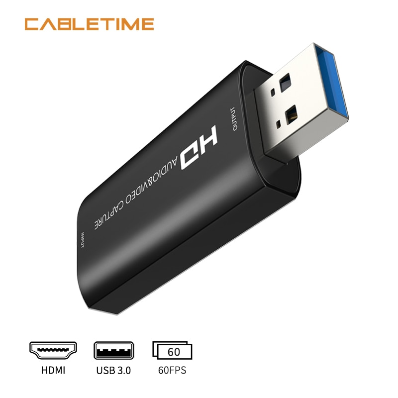 CABLETIME Video HDMI Capture Card USB 3.0 HD 1080P Audio&Video Recorder for Switch PS4 Live Streaming Capture Card N415 audio video capture card 4k hdmi to usb 3 0 capture card 1080p 60fps live streaming game recorder device for ps4