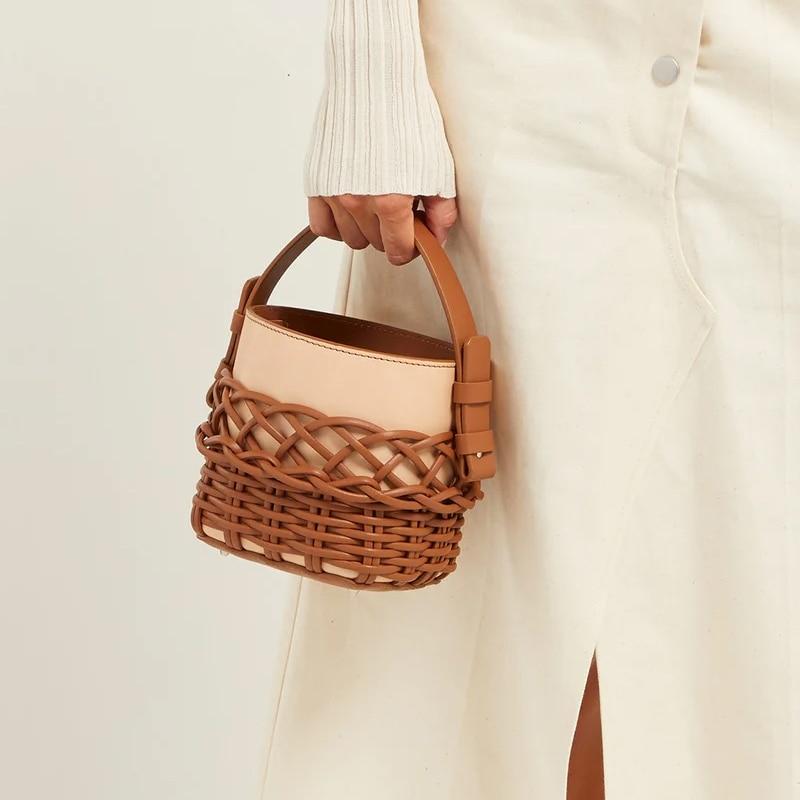 جديد 2021 موضة المنسوجة بألواح صافي شكل دلو حقائب حقيبة كتف المرأة حقيبة يد