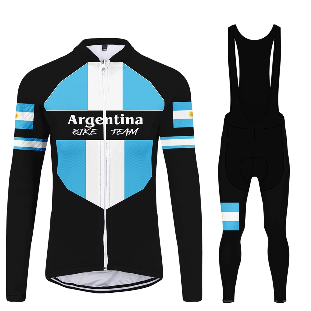 WAMNI para mujer de manga larga ciclismo Bib Pans bicicleta de montaña Argentina bicicleta masculina equipo ciclismo Jersey Set blusas mujer de moda 2019