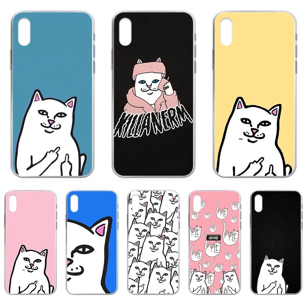 De dibujos animados tendencia gato RIPNDIP hoesjes de caso de teléfono transparente para iphone 4 4S 5 5C 5S 6 6S PLUS 7 8 X XR XS 11 PRO SE 2020 MAX