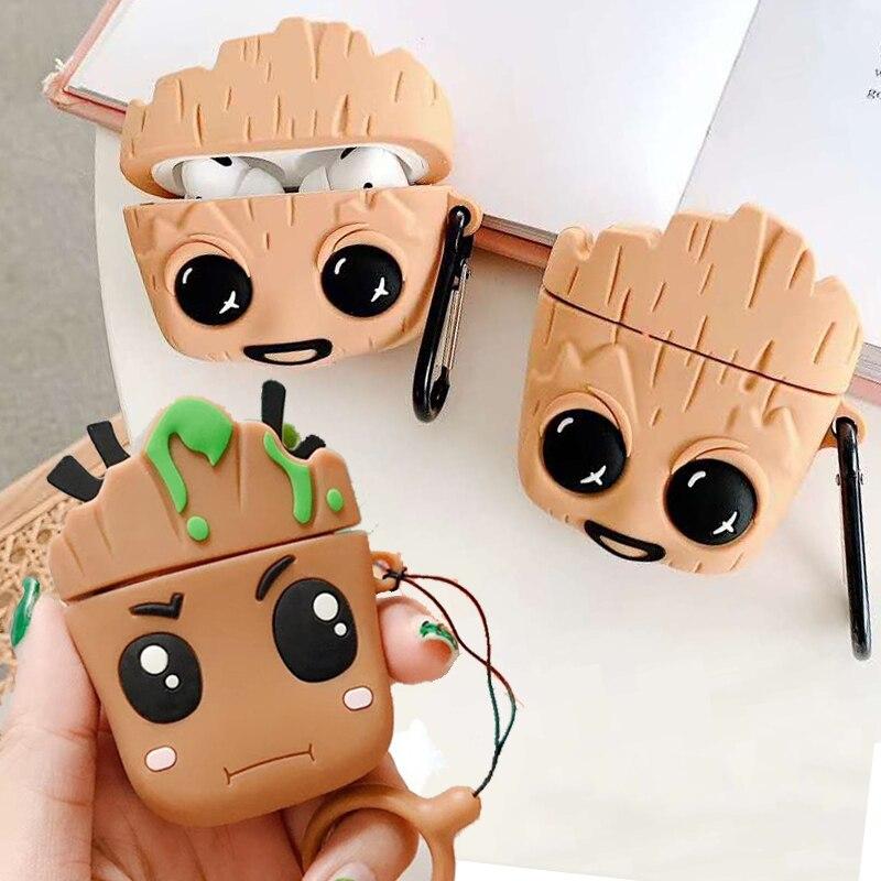Funda 3D para Airpods Pro de los vengadores, Groot, Marvel, Tree Man, para Apple Airpods 1 2 3, funda para auriculares inalámbricos con cargador
