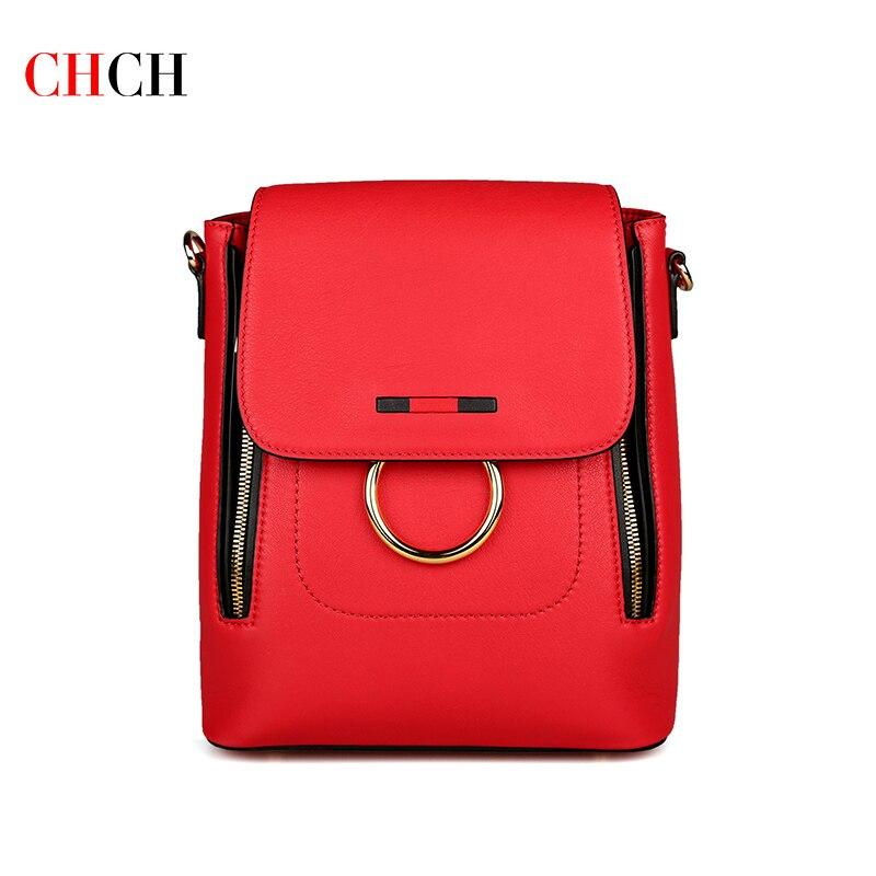 CHCH موضة لينة جلد طبيعي المرأة على ظهره عالية الجودة السيدات اليومية حقائب كتف عادية حقيبة سفر حقيبة مدرسية