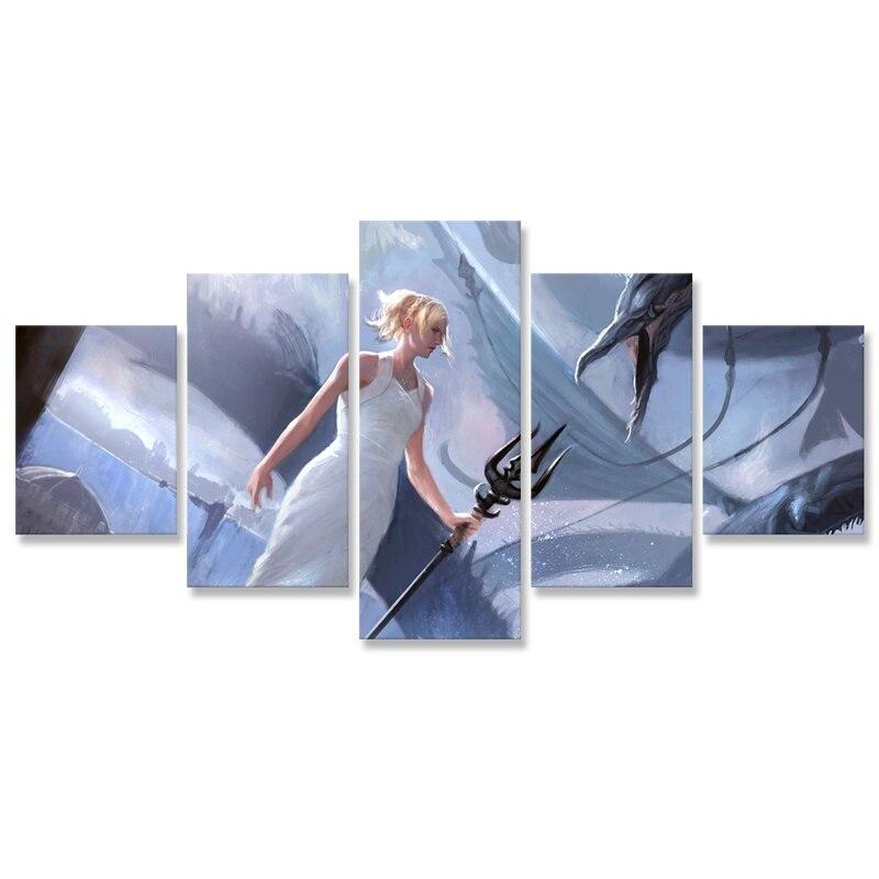 Cartel de fantasía Final Lunafreya para decoración del hogar, modular de 5 uds Pintura, imagen HD, impresiones en lienzo, arte de pared