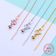 45cm 925 argent Sterling couleur croix chaîne boîte chaîne fabrication collier bijoux accessoires réglable décoration connexion