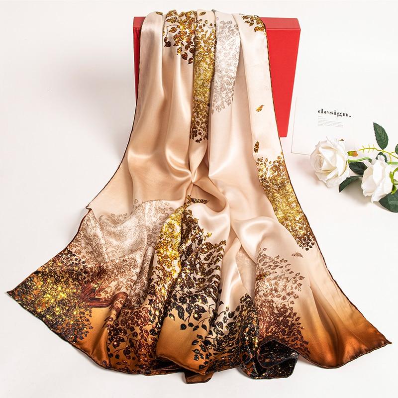 السيدات 100% وشاح حريري نقي طويل المطبوعة شالات و يلتف للنساء الأصفر منديل هانغتشو الحرير الحقيقي الأوشحة Foulard فام