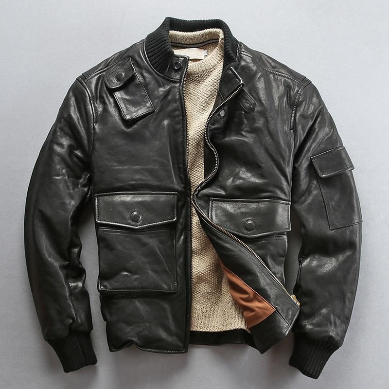 Cálido invierno 2020 chaqueta de cuero auténtico para hombre, piel de oveja curtida con verduras, abrigo clásico Vintage con cuello levantado, chaqueta de Rusia.