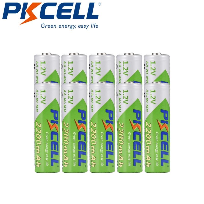 10pcs Pré-carregada Baterias PKCELL AA 1.2V NI-MH 2200mAh 2A NIMH Baixa Auto-descarga AA Bateria Recarregável Baterias Bateria