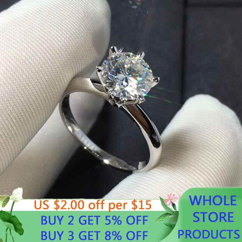 LMNZB With Certificate Solid 18KRGP White Gold 2ct Moissanite Wedding Rings For Women Engagement Gift Fine Jewelry SMR168
