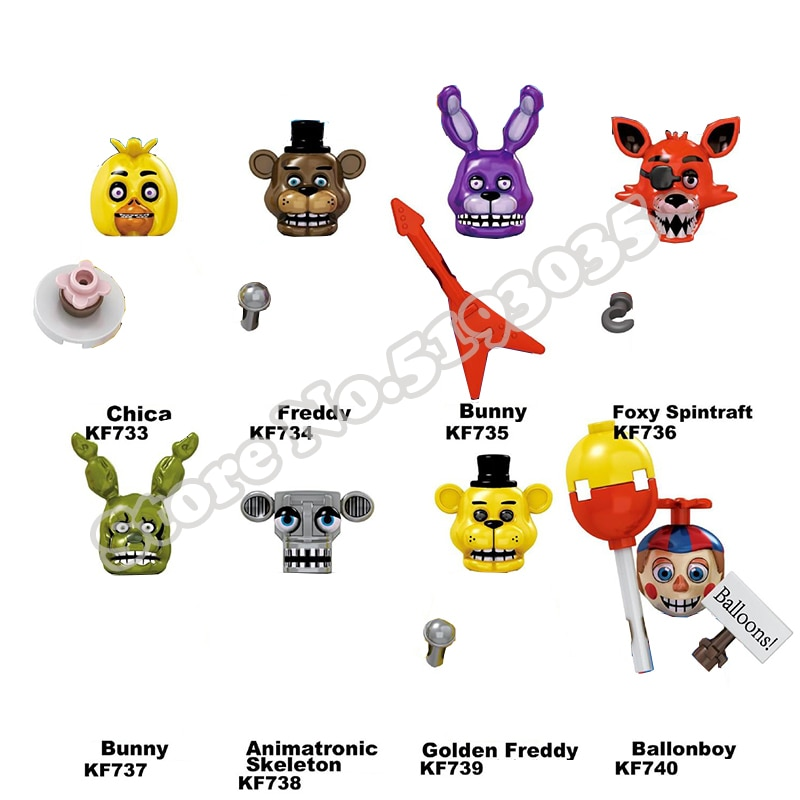 building blocks bricks five nights at freddy s chica freddy bunny figures thriller adventure game for children model toys kf6071 8pcs/set FNAF Five Nights At Freddys Building Blocks Nightmare Freddy Chica Bonnie Funtime Foxy Figures Toys