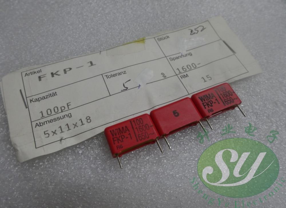 20 piezas/50 Uds WIAM, FKP1 serie 0,0001 uF/1600 V 0.1nf 100pf 101 nueva 15mm película capacitor con envío gratis