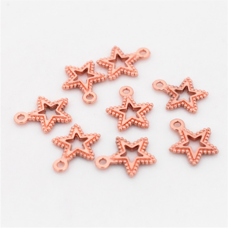 17x14mm 20 pçs/lote rosa ouro cor chapeado oco estrela encantos pingente diy artesanal jóias acessórios