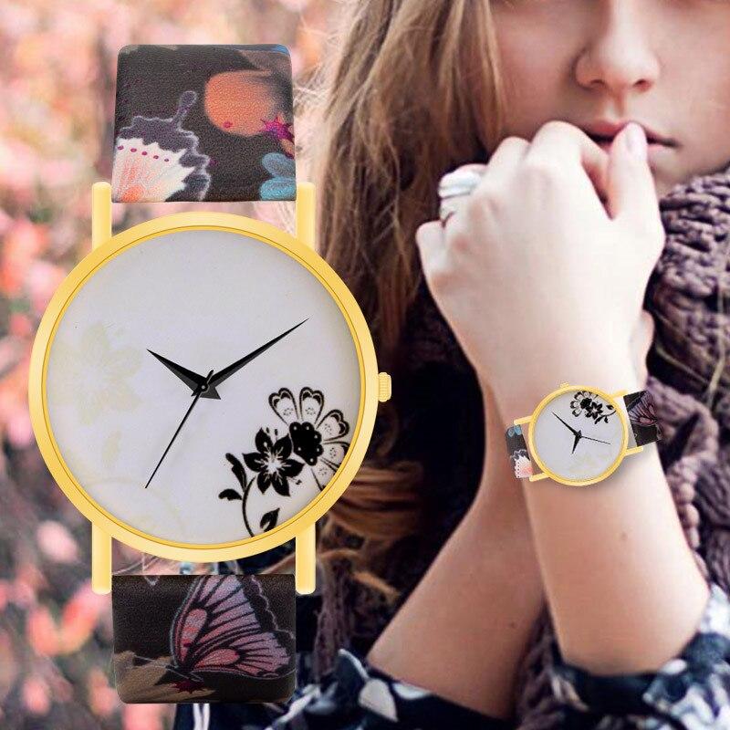 WJ-8735 Fashion Womens Watch Girls Simple Flower Dial Leather Quartz Wrist Watches Female Clocks Montre Femme Relogio Feminino