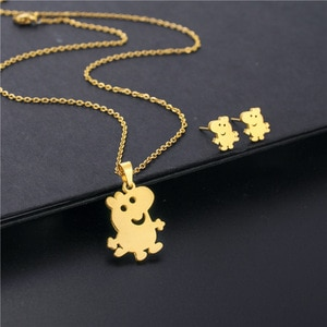 Stainless Steel Anime Small Animal Pet Baby Piggy Pendant Chain Necklace Earring Set Choker For Women Cute Pig Korean Jewelry